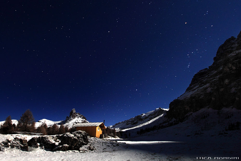 Photo in Landscape #christmas night #night #snow #stars #wilderness #landscape #dolomites #italy #icy night #ice #freedom