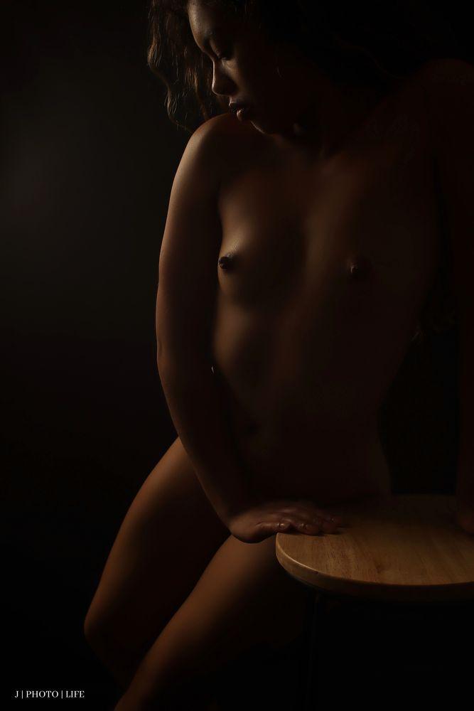 Photo in Nude with model Ameeka Moore #sensual #fine art #nude art #nude #hispanic #erotica #studio nude #nipples #stool
