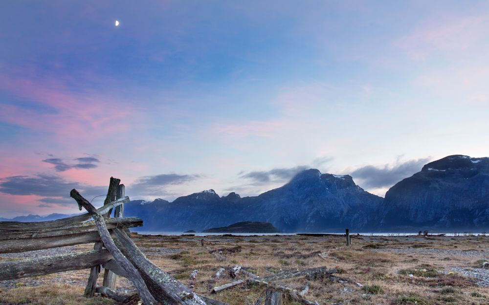 Photo in Landscape #sun #moon #patagonia #morning #landscape #mountain #photography #travel #tierradelfuego