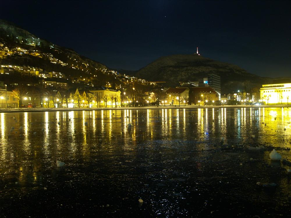 Photo in Landscape #winter #cold #ice #bergen #reflection #mirror #effect #view #city #norway #frozen
