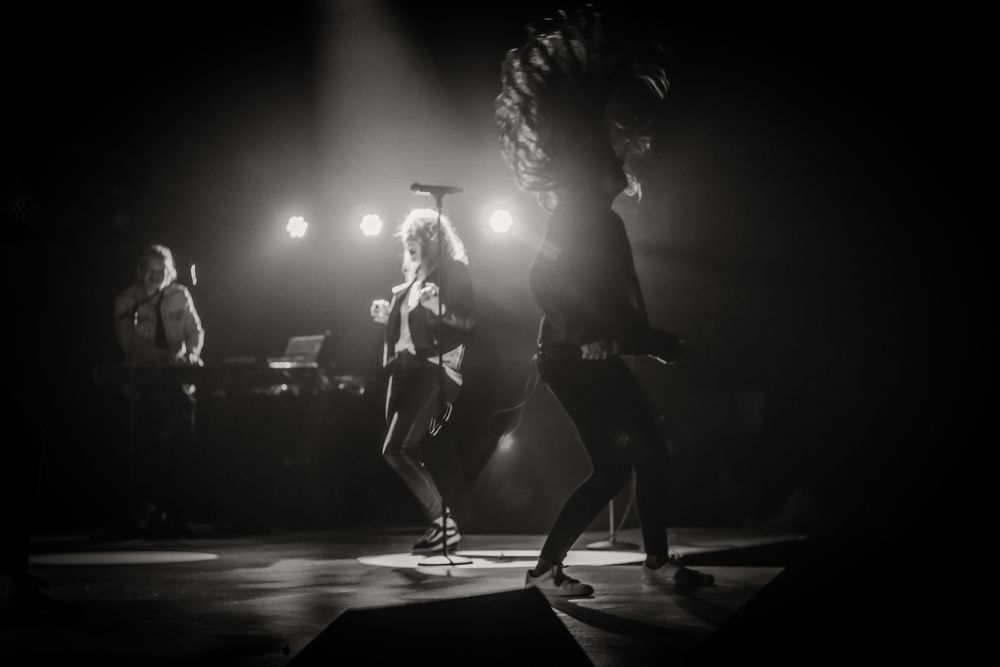 Photo in Black and White #concert #blackandwhite #bw #portrait #rock #performance #girl #hair #backlight #stage #singer #band #vocalist