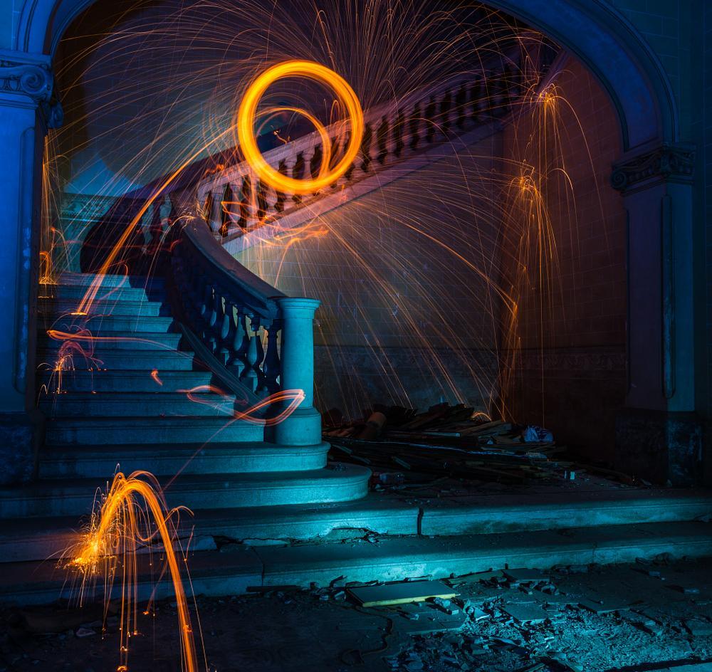 Photo in Interior #long exposure #lightpainting #ruines