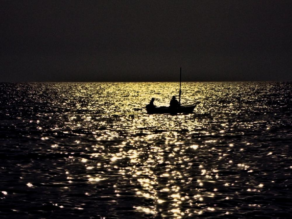 Photo in Sea and Sand #sea #sunset #fishing