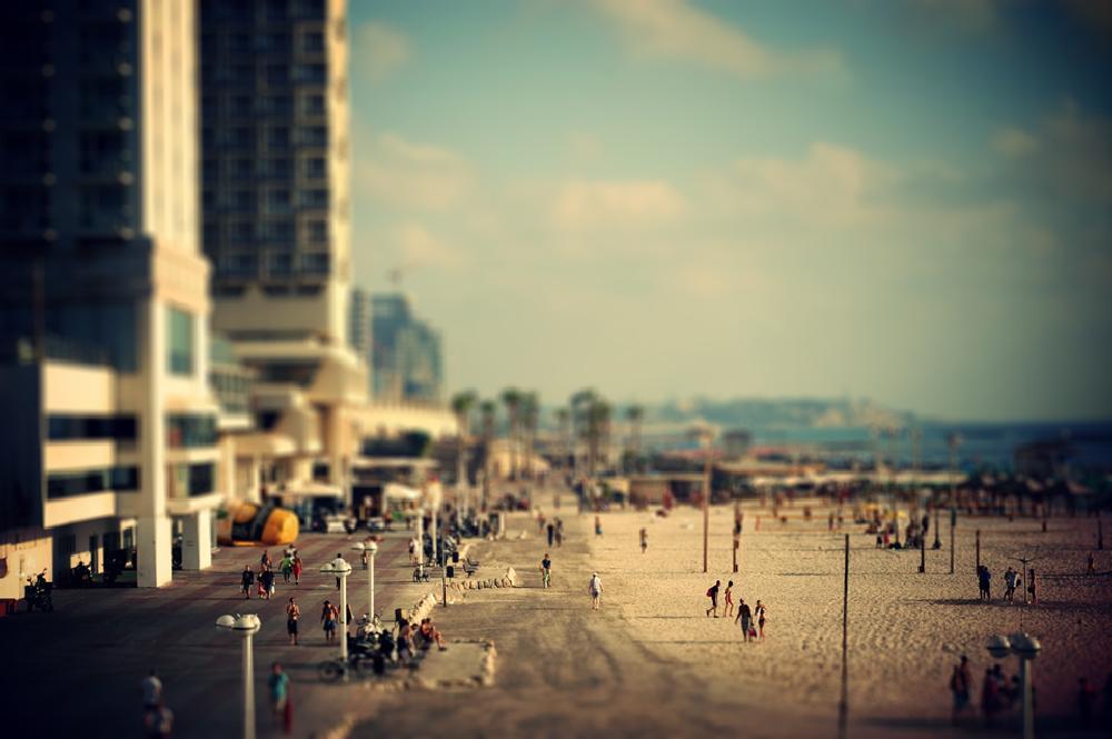 Photo in Landscape #tiltshift #beach #landscape #horzion #summer #ocean #people #water #tel-aviv #israel #tilt shift