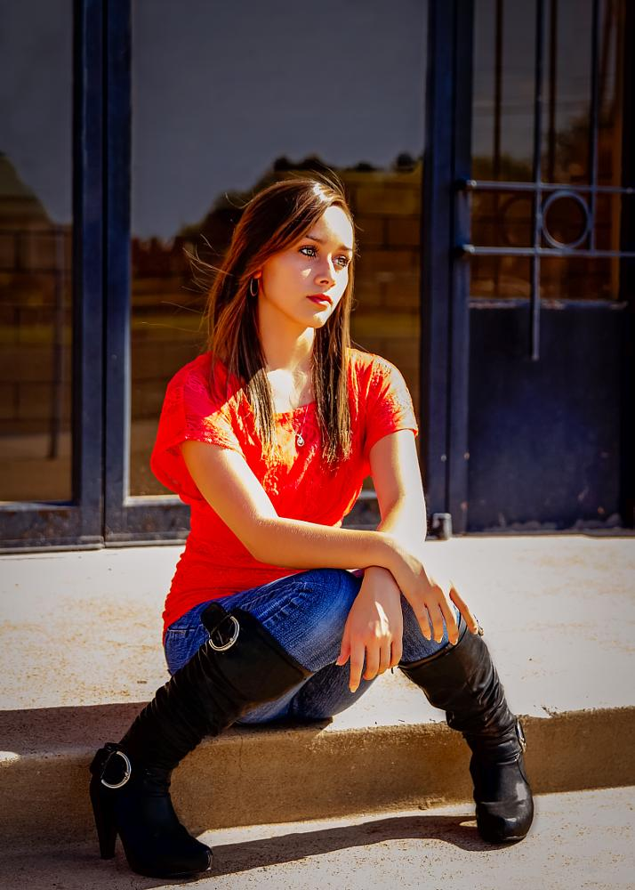 Photo in People #thinking #teen #girl #people #boots #pensive #line frame