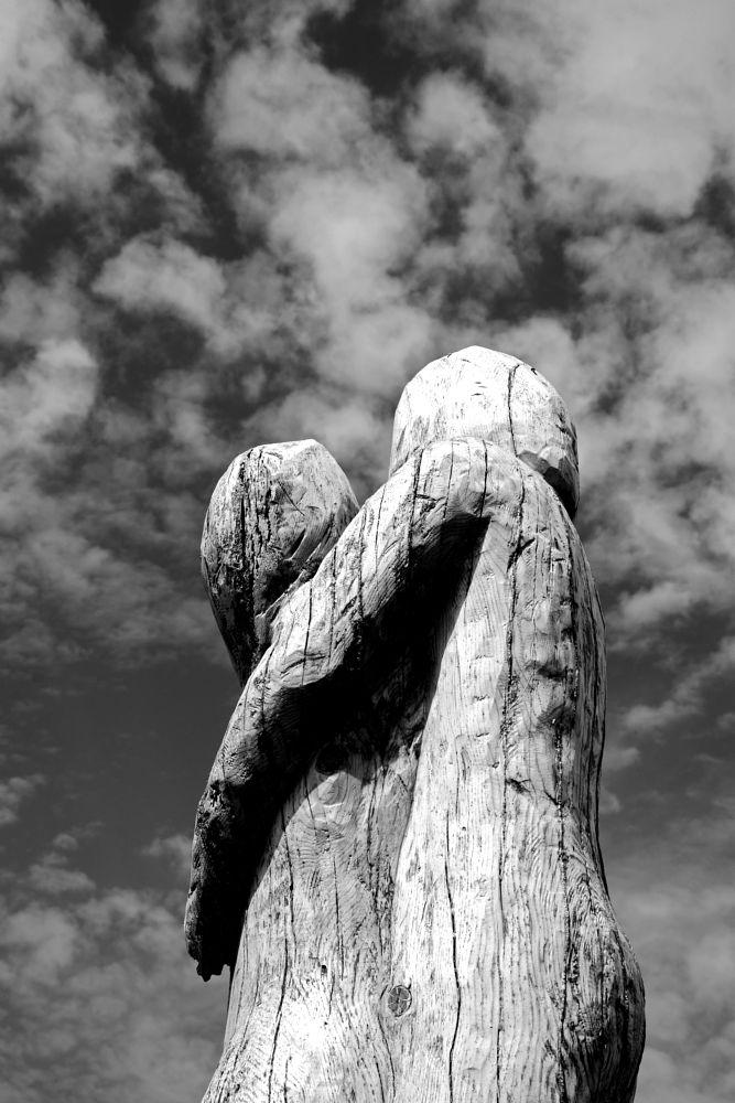 Photo in Black and White #black&white #monochrome #wood #wooden sculpture #sculpture #old sanatorium #park #parnitha #sky #clouds