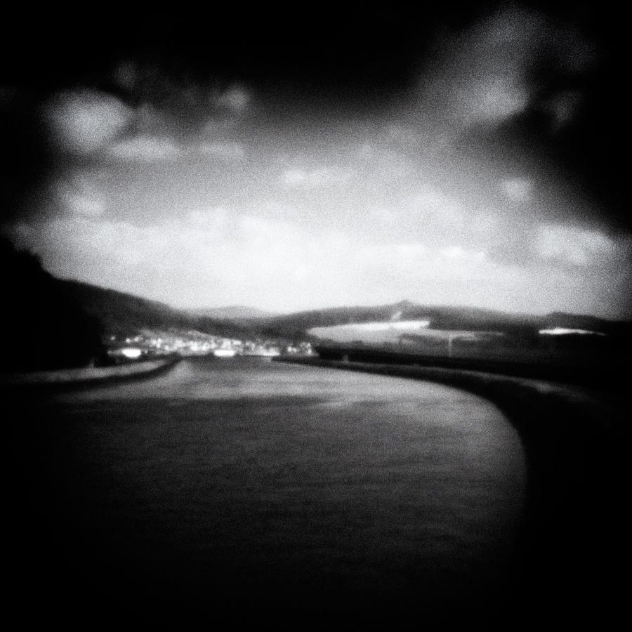 Photo in Black and White #blackandwhite #monochrome #landscape #nature #water #river #pinhole #sky #clouds #mountains #square #mood #longexposure