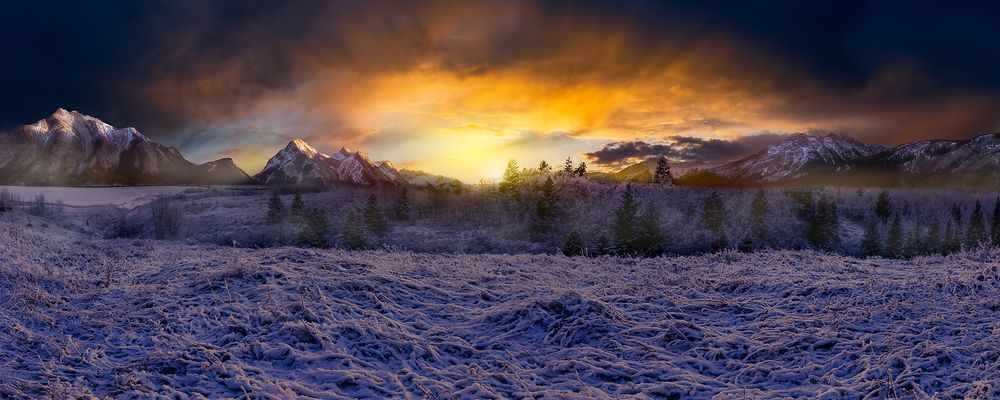 Photo in Landscape #mountains #sunset #clouds #snow #winter