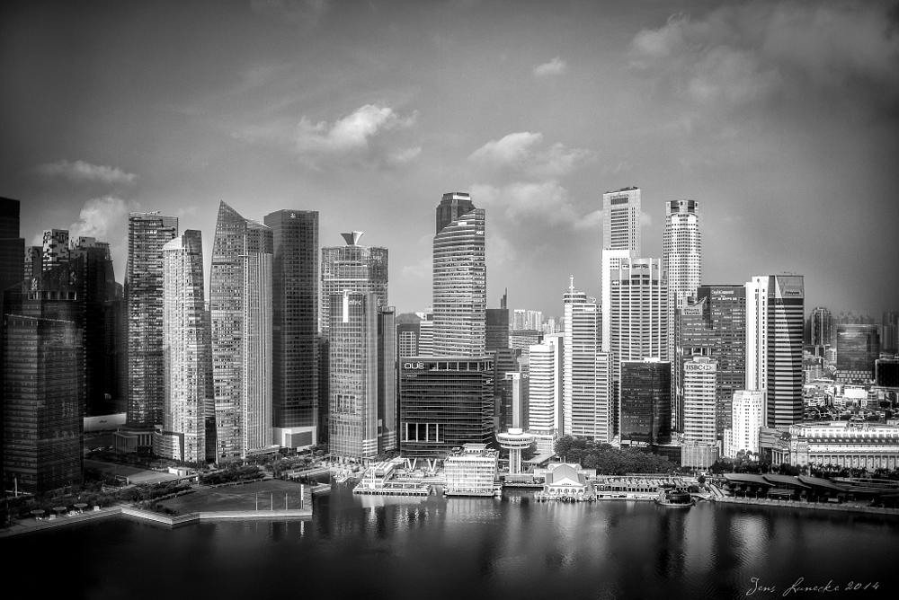 Photo in Black and White #singapore #skyline #skyscraper