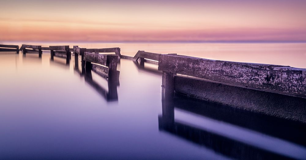 Photo in Landscape #landscape #serenity #water #wood #calm #purple #sunset #hdr #perth #australia #western australia