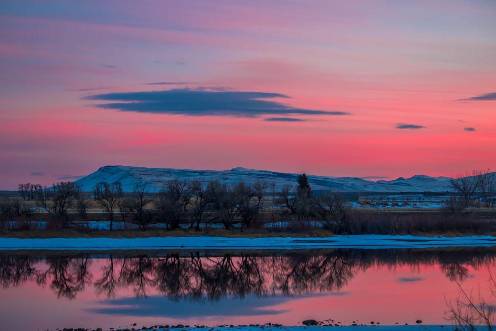Photo in Landscape #snake river #sundown #sunset #sunrise #evening #sky #clouds #pink #red #winter #snow