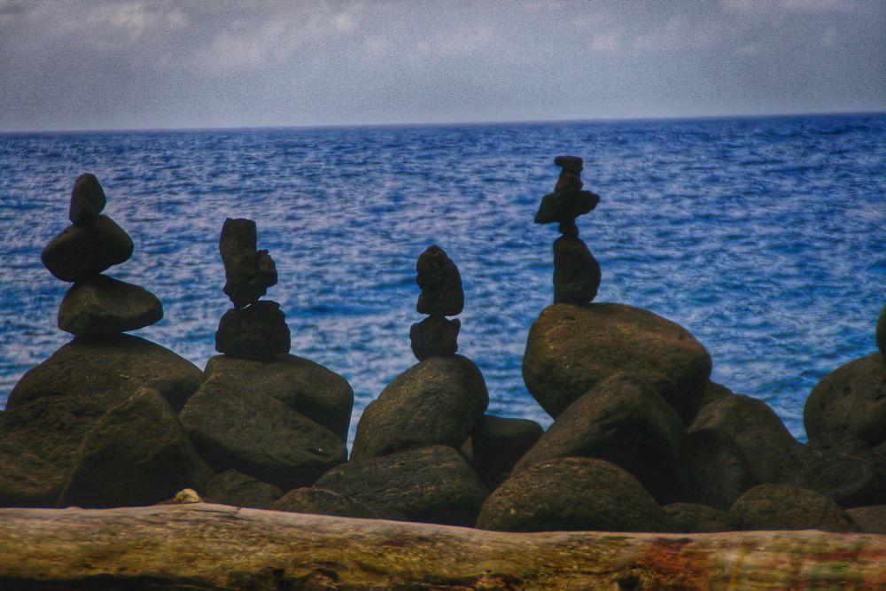 Photo in Landscape #rocks #peaceful #ocean #pacific #blue #black #island #horizon