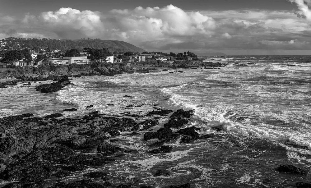 Photo in Black and White #california #coastal #homes #pacific ocean #landscape #landscape photography #bw #b&w #black and white #travel #travel photography #coastline #photojournalism