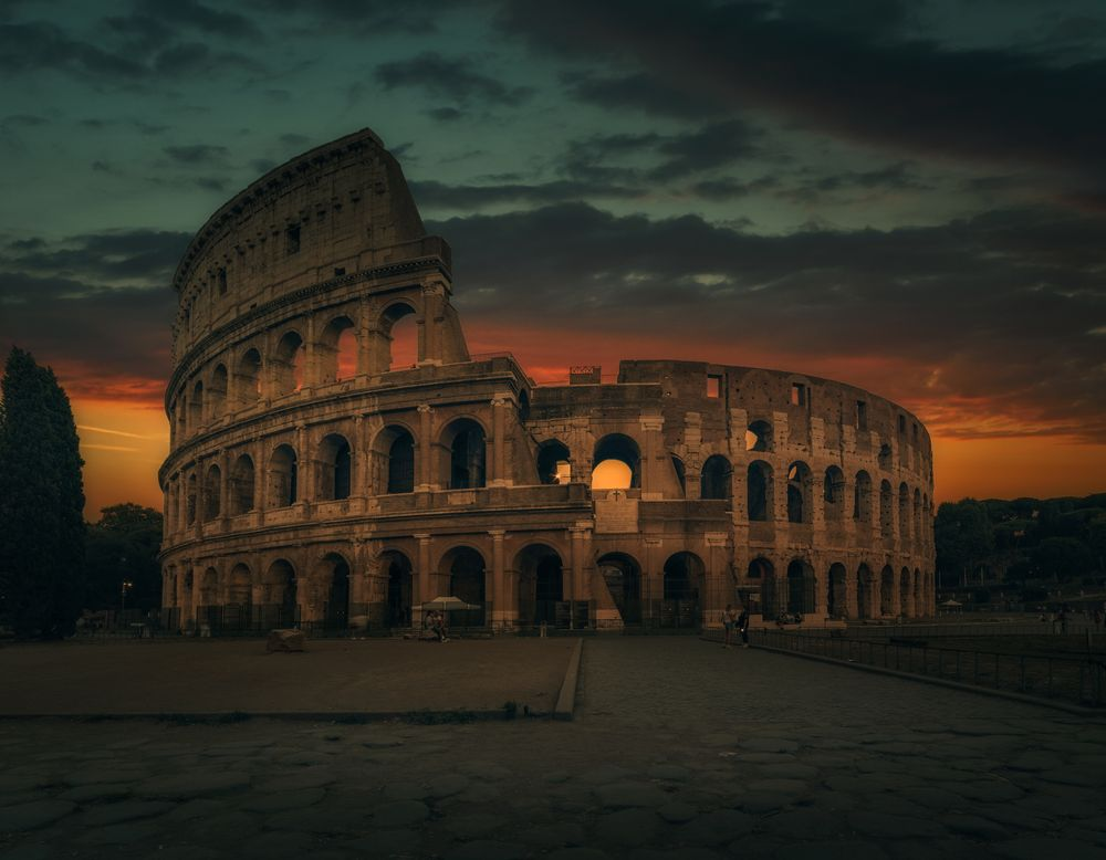 Photo in Cityscape #urban #dramatic sky #rome #cityscape #city #history #famous place #travel destination #amphitheatre #sunset #outdoors #italian culture #old ruin #ancient #architecture