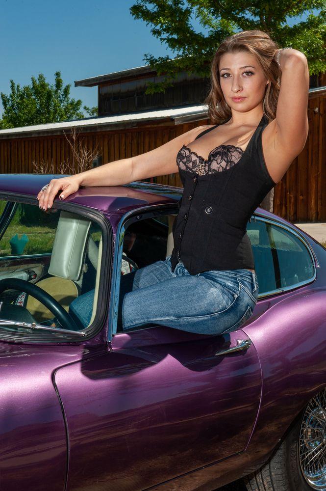 Photo in Vehicle #lady #model #jaguar #car #purple #colorado