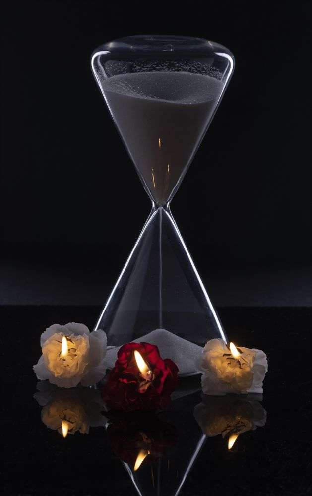 Photo in Abstract #hourglass #white line #flowers #fire #reflection #time