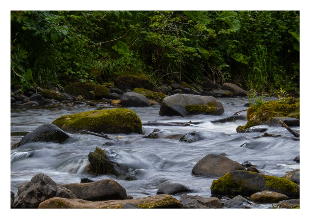 Photo in Landscape #river #smooth #rocks #green #movement