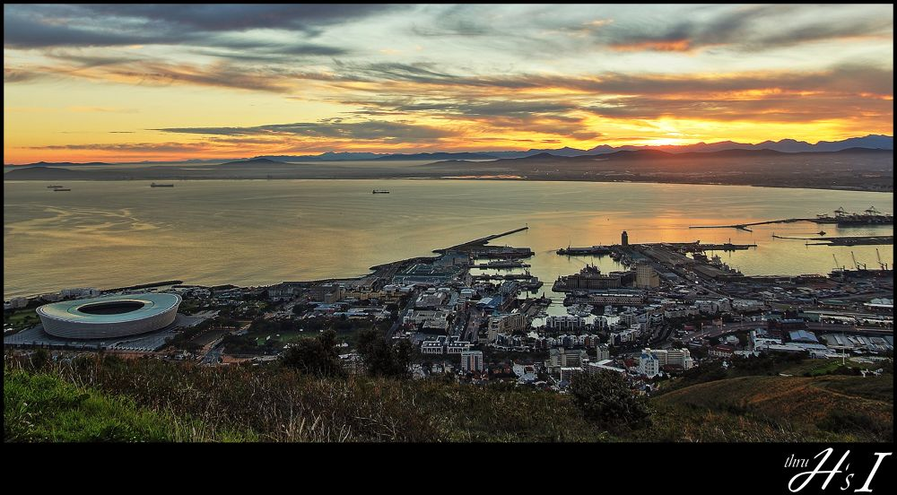 Photo in HDRI #cape town #sunrise #waterfront #cape town stadium #world cup 2010 stadium #table bay
