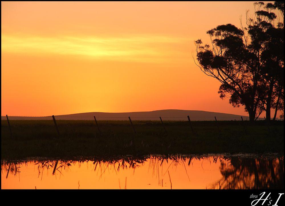 Photo in Nature #sunset #lake #orange #reflection #water