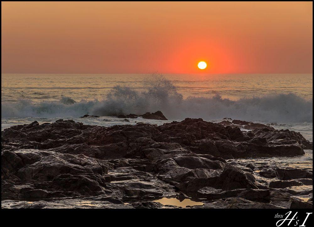 Photo in Random #sunset #waves #splashing #rocks #sun #water