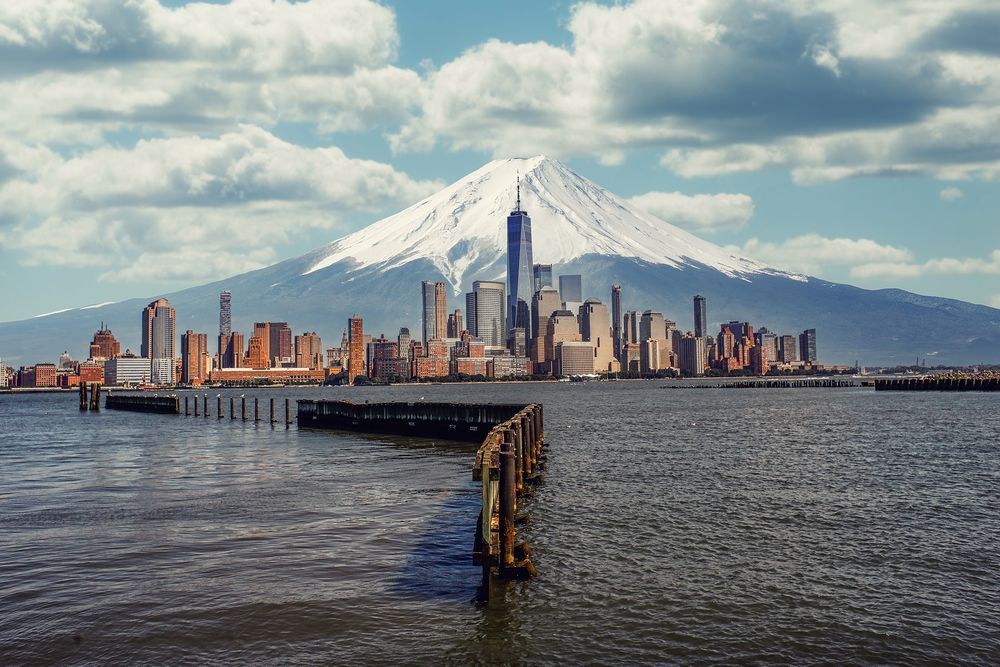 Photo in Landscape #nyc #new york #one world trade center #freedom tower #mt fuji #fuji #pier #photoshop #cityscape #mountain