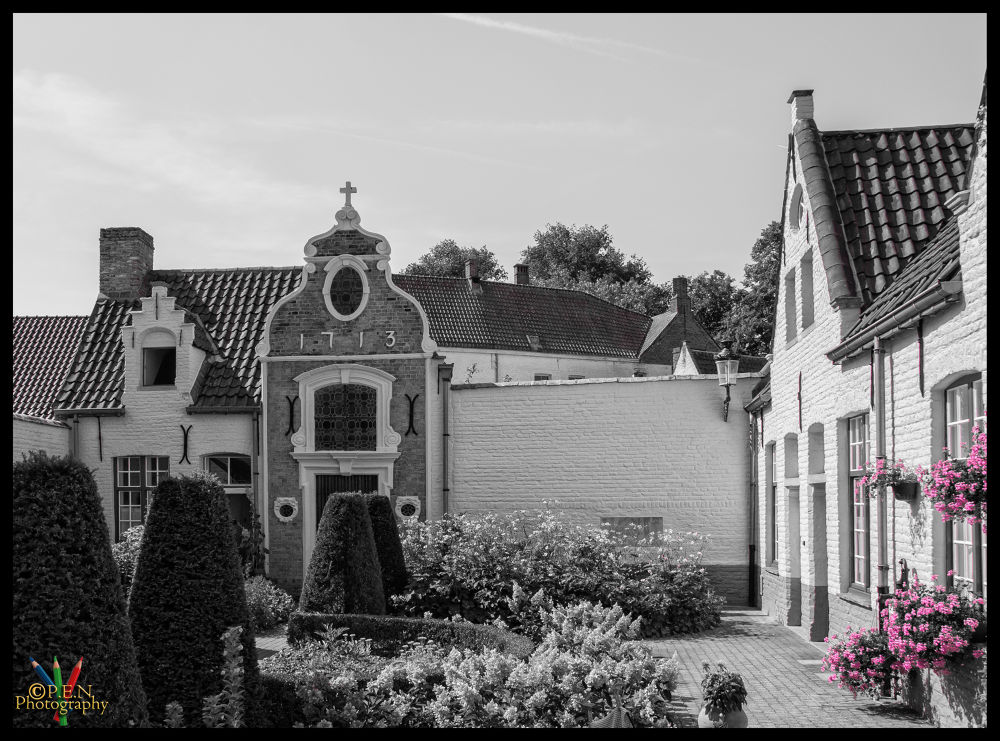 Photo in Black and White #belgium #flanders #bruges #brugge #anno1713 #garden #flowers #tourist #b&w #2013 #ypa2013