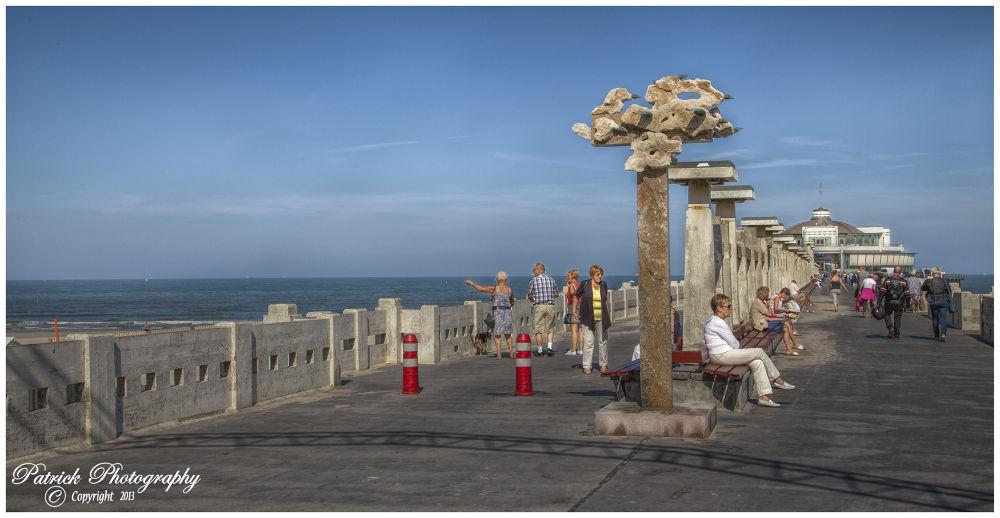 Photo in Sea and Sand #belgium #flanders #city #blankenberge #pier #promenade #walk #beach #sea #summer #sky #2013 #ypa2013