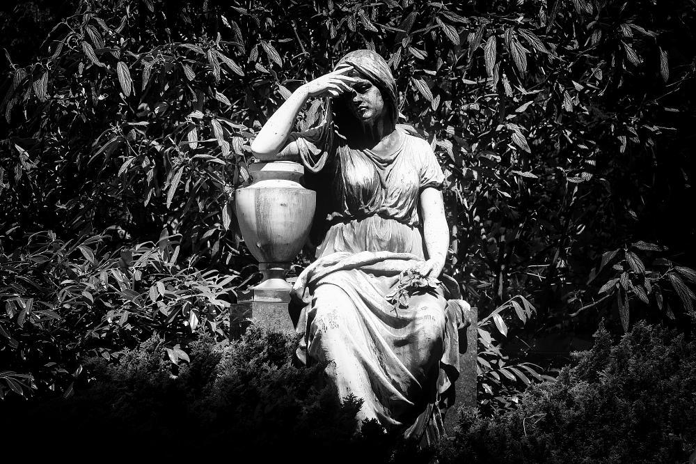 Photo in Street Photography #statue #sculpture #cemetery #grave #graveyard #grief #black & white #death
