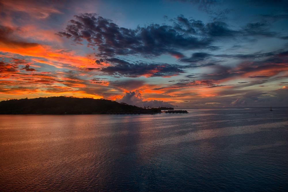 Photo in Landscape #bora bora #polinesia #sunset #sea #tramonto