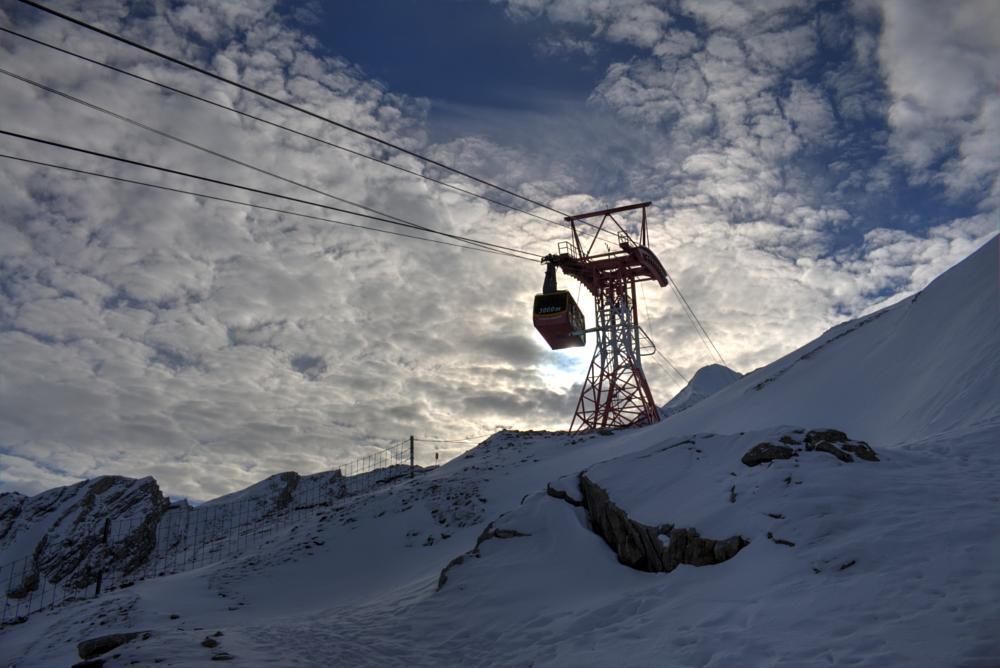 Photo in Travel #kitzsteinhorn #winter #glacier #snow #cable-car #sun #mountains #salzburg #kaprun #austria #ascent #clouds
