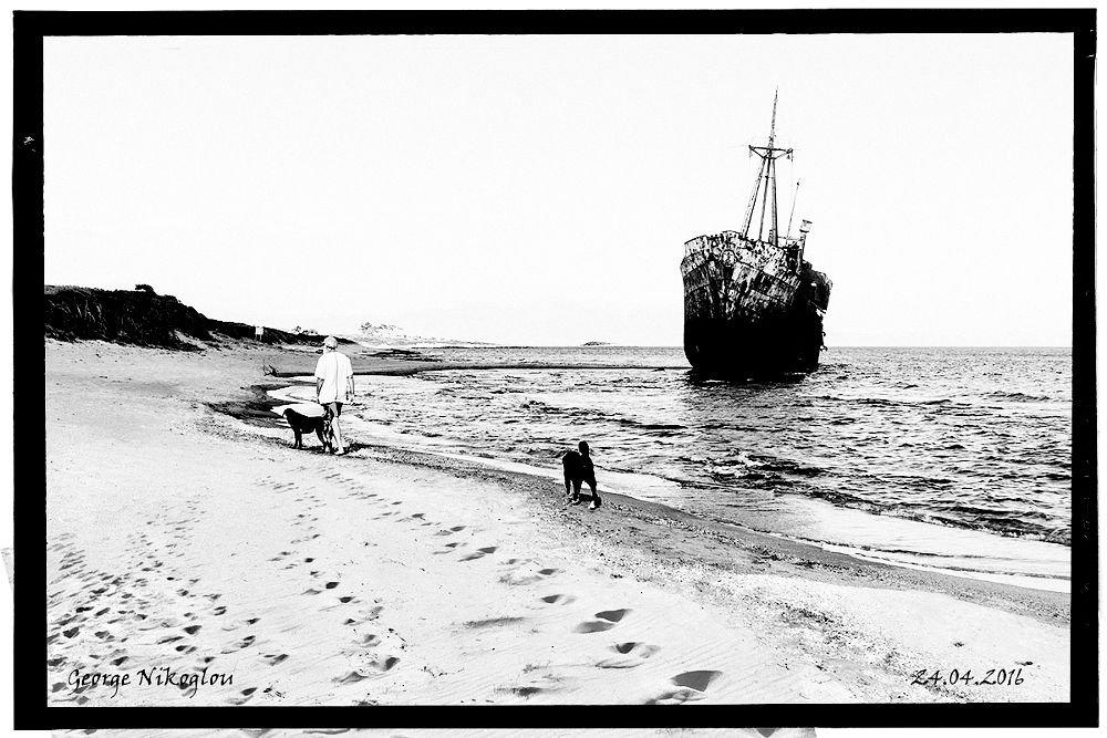 Photo in Black and White #canon #5dmarkii #sea #sky #people #dogs #steps #ship #black #white #b&w #black&white