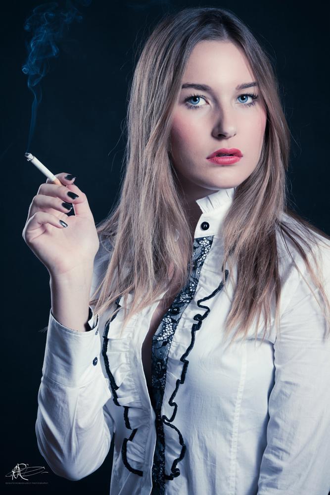 Photo in Fashion #portrait #sigarette #beauty #modle #fashion #studio #light #smoke