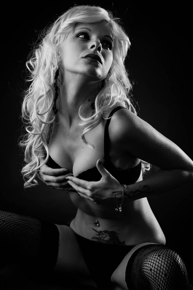 Photo in Nude #model #portrait #sexy #glamour #b&w #black and white #romagnuolo #lingerie #studio #light #beauty #indoor