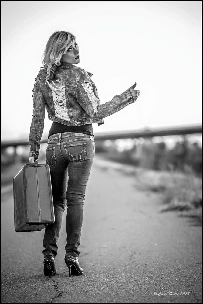 Photo in Fashion #blonde hitchhiker #suitcase in hand #tatoo lady