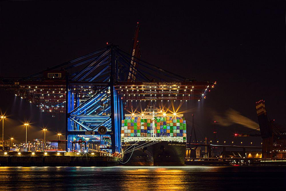 Photo in Random #containerterminal #night #nightfotographie #ship #hamburg #germany #port