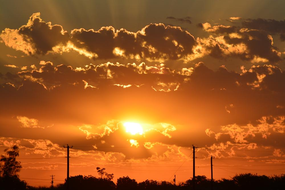 Photo in Nature #sunset #rays #texas #clouds