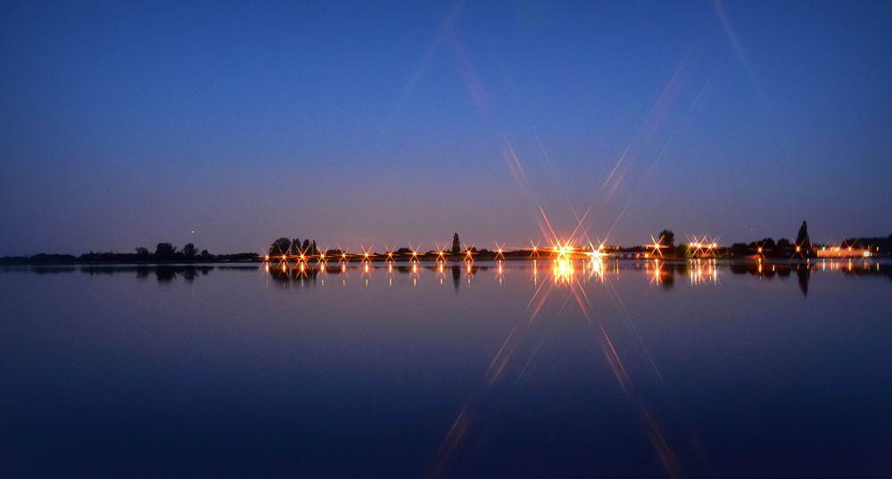 Photo in Cityscape #water #landscape #night #lights #poland #varsovia #cityscape