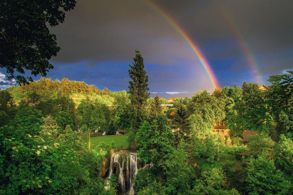 Photo in Landscape #rainbow #nature #landscape #croatia #rastoke #slunj #forest #waterfall #tree #fairyland