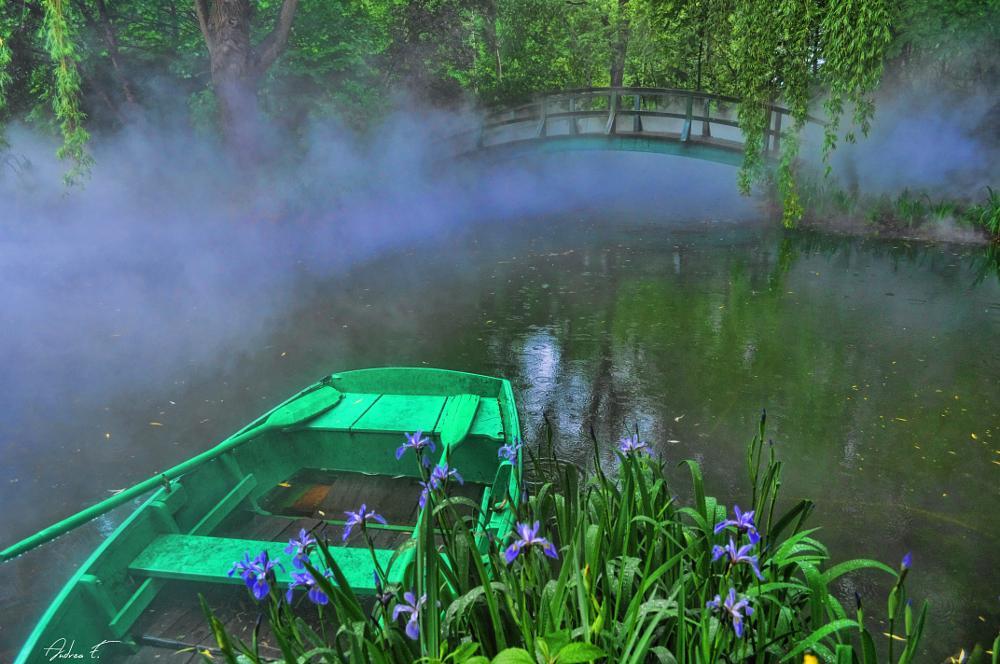 Photo in Random #fog #steam #landscape #boat #lake #bridge #nature