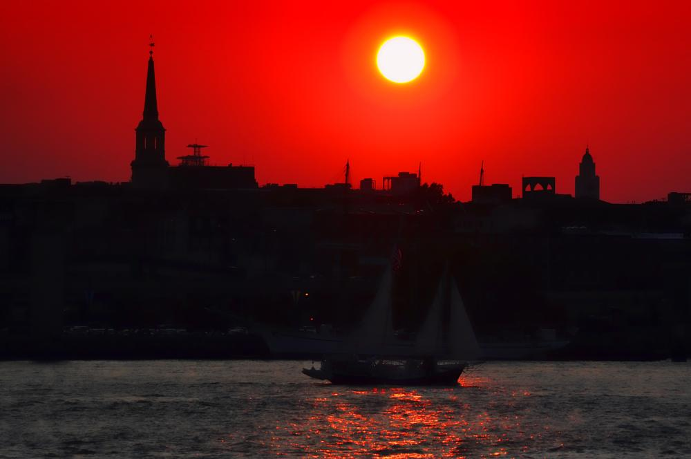 Photo in Landscape #sunset #skyline #river #boat