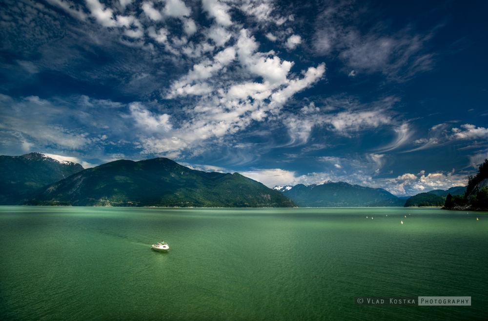 Photo in Landscape #portaeu cove #bayliner #bay #clouds #rocks #ocean #green #environment #glacier #boat