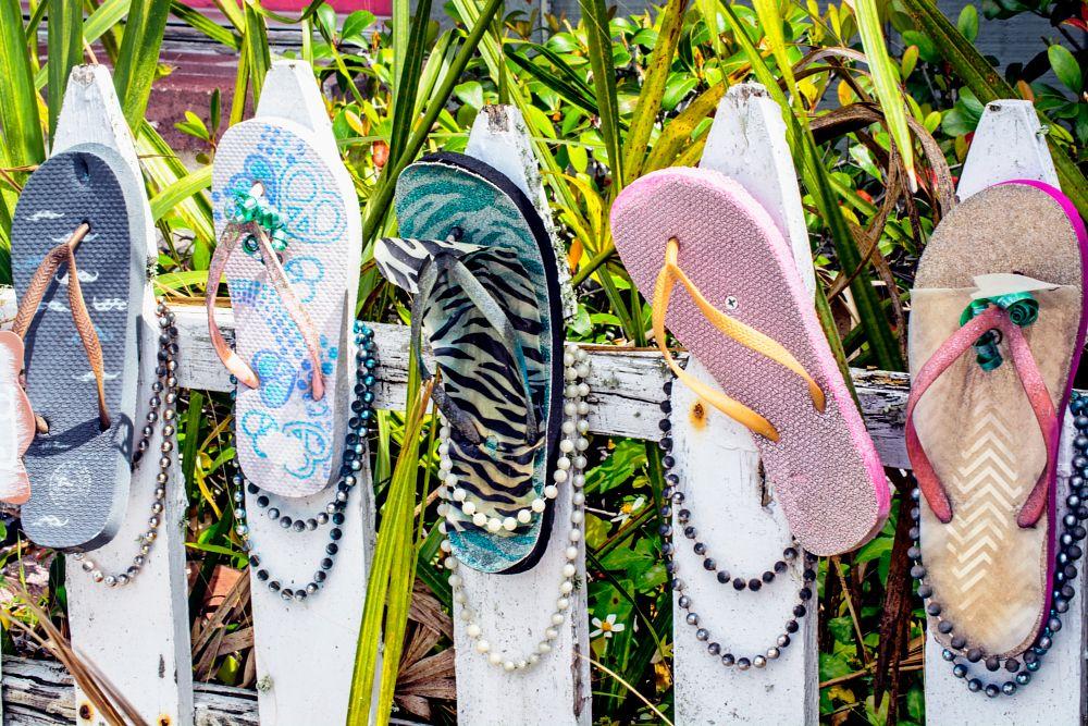 Photo in Random #shoes #flip-flops #picket fence