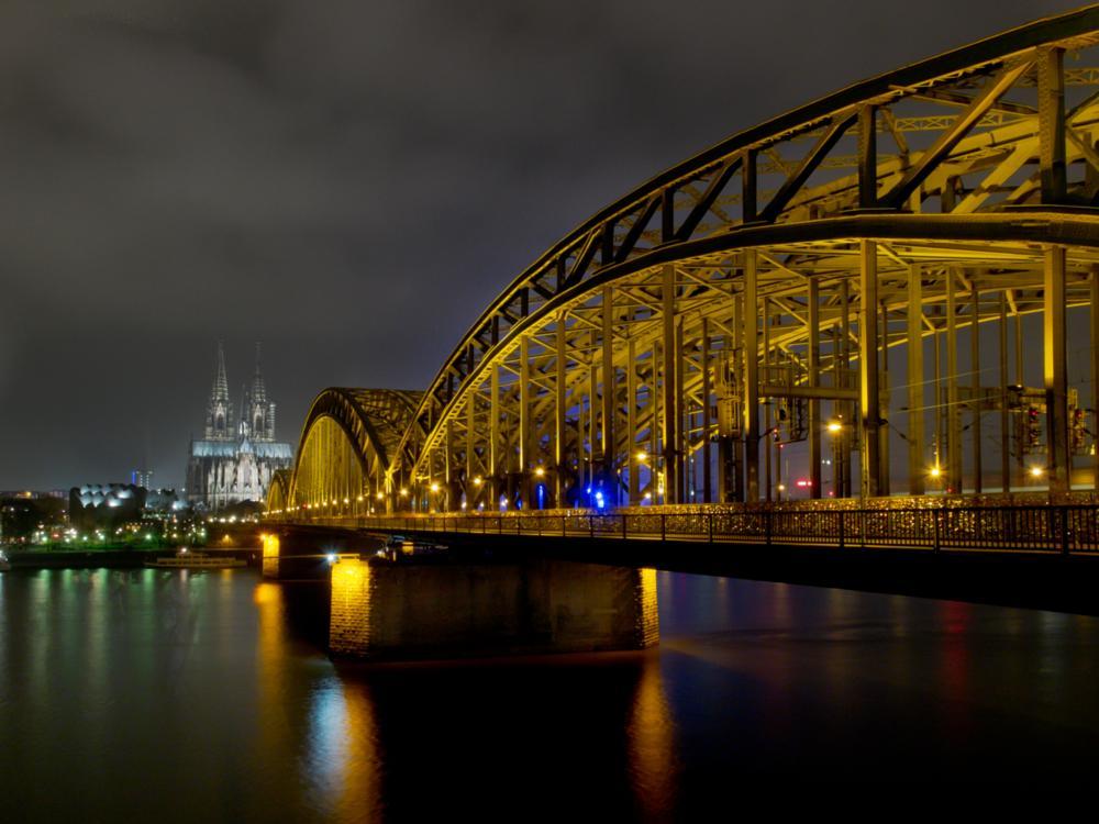Photo in Cityscape #hohenzohlenbrücke #bridge #night #köln #keulen #germany #river #rhein #railway bridge #chantal nederstigt