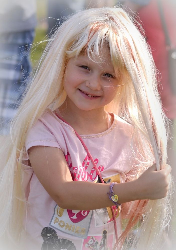 Photo in Portrait #girl #child #children #portrait #smile #play #wig #young