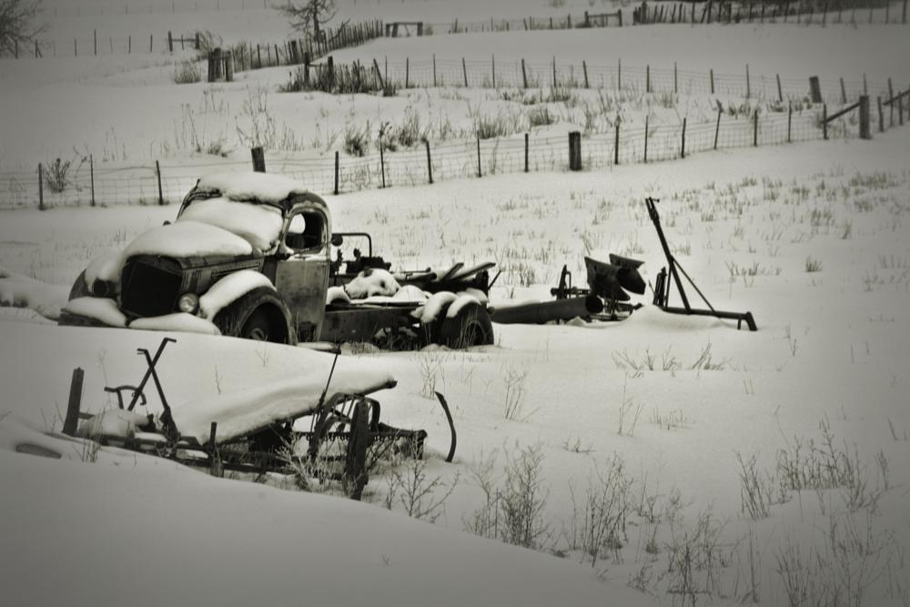 Photo in Black and White #vintage #snow #transportation #truck #old #rust #black and white