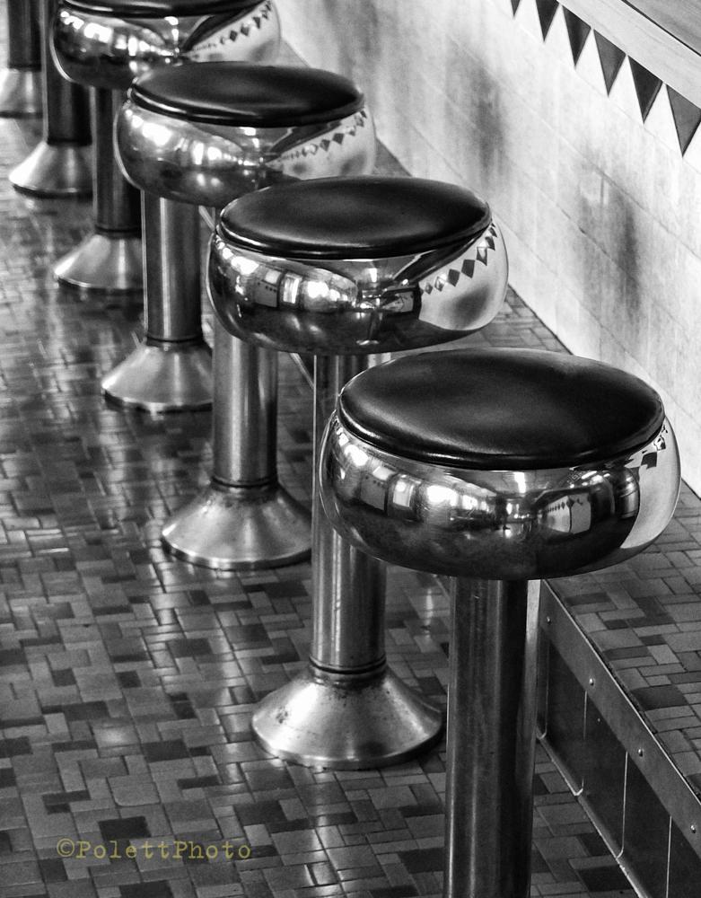 Photo in Black and White #stools #diner #blackandwhite #americana