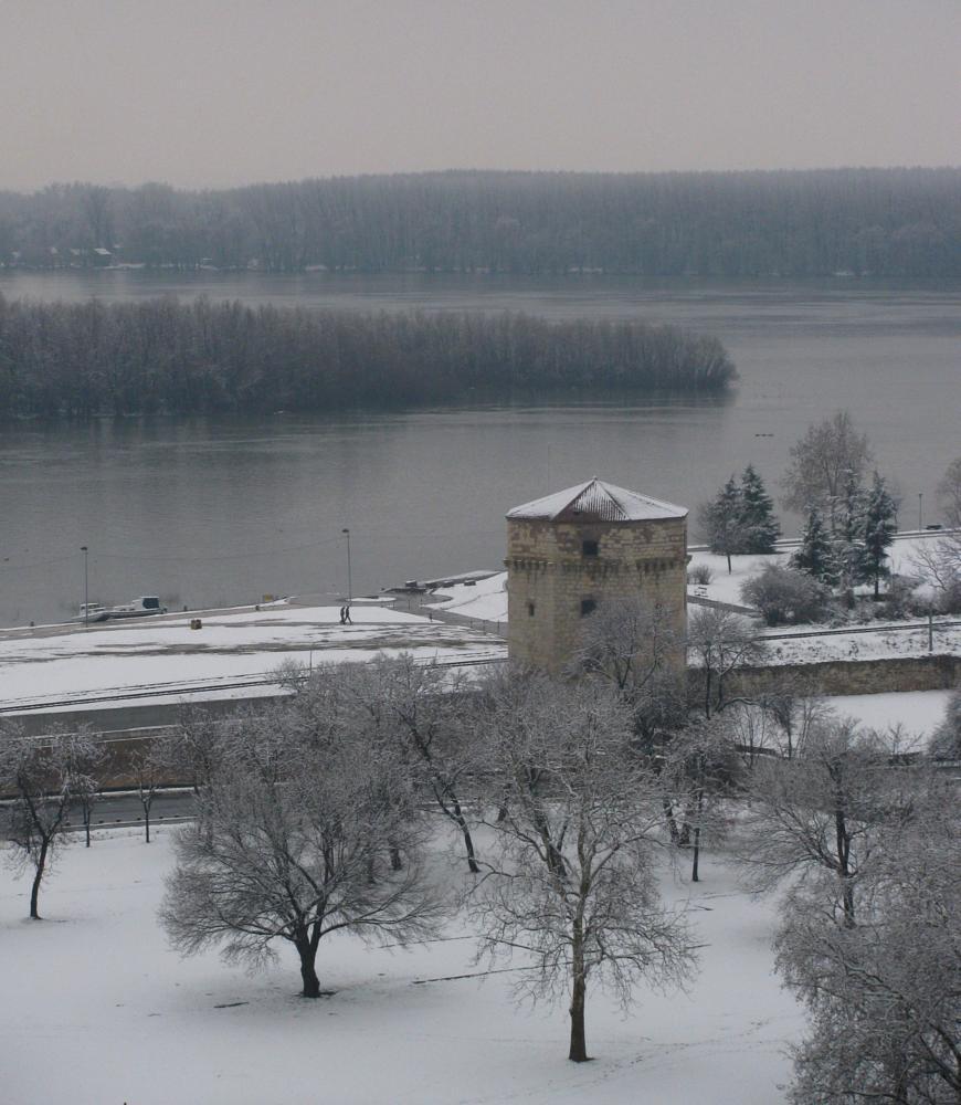 Photo in Cityscape #watch #tower #old #river #island #winter #belgrade #beograd #danube #dunav #serbia #srbija #sava