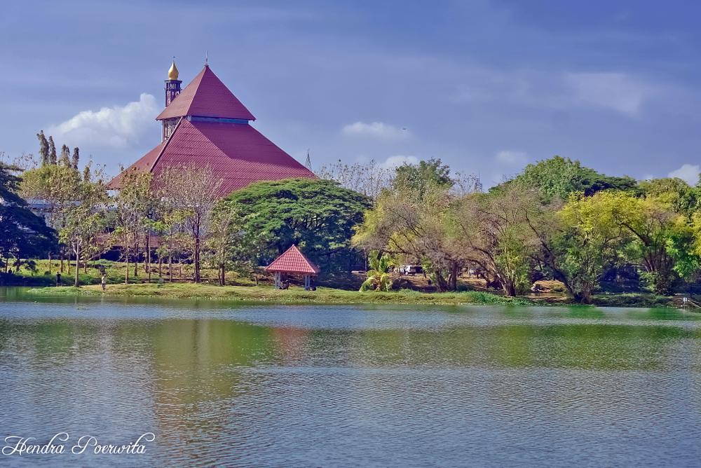 Photo in Landscape #mosque #lake #landscape #trees #waterscape