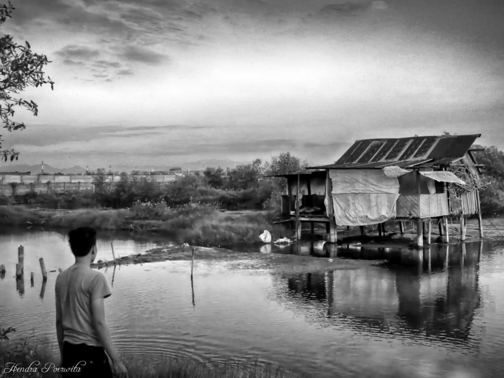 Photo in Black and White #hut #people #landscape #rural #black and white #swamp