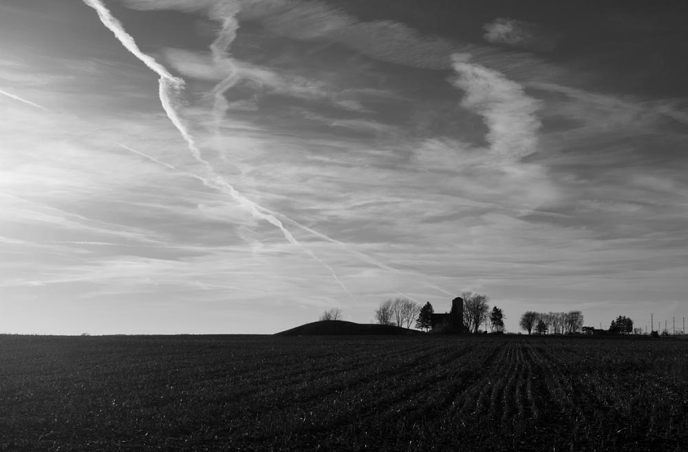 Photo in Landscape #contrails #field #sky #landscape